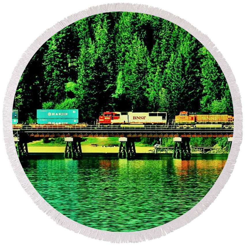 Train Round Beach Towel featuring the photograph Burlington Northern by Benjamin Yeager