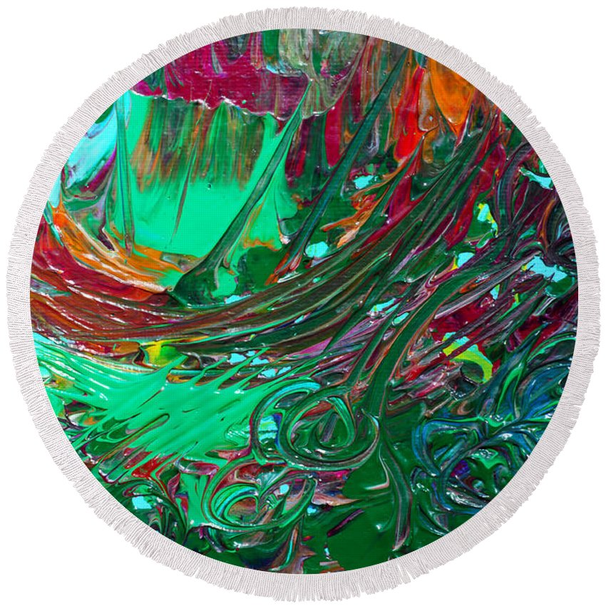 Bold Abstract Round Beach Towel featuring the painting Burning Bridges by Donna Blackhall