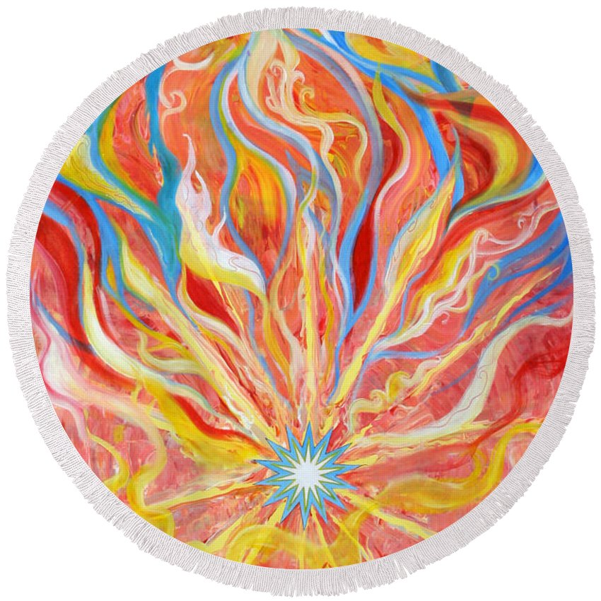 Biblical Round Beach Towel featuring the painting Burning Bush by Anne Cameron Cutri