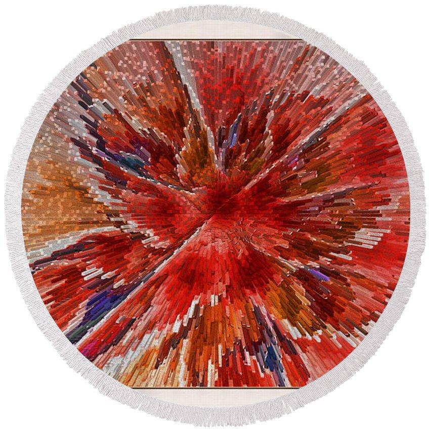 Fractal Round Beach Towel featuring the digital art Burning Passion Of Love by Deborah Benoit