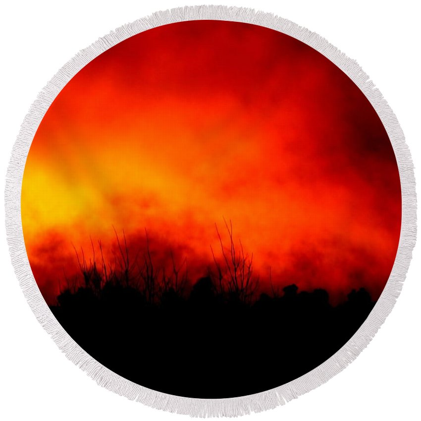Fire Sunset Cloud Bushfire Brushfire Flame Landscape Forest Round Beach Towel featuring the photograph Burning Sky by Guy Pettingell