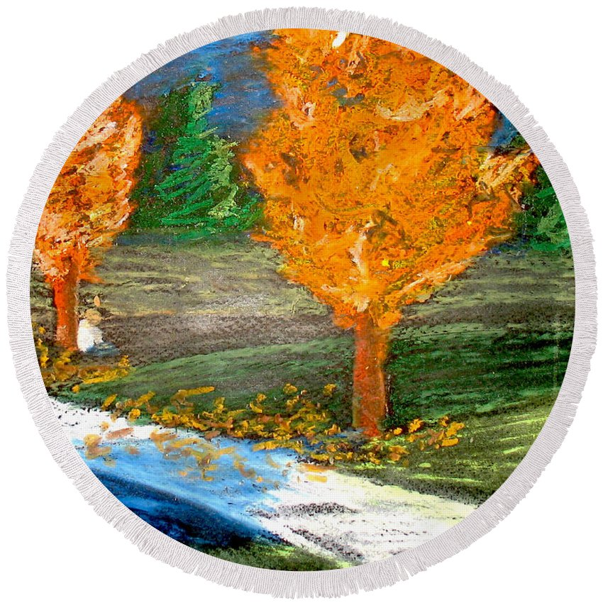 Pastel Round Beach Towel featuring the photograph Burning Trees by Ryan Burton