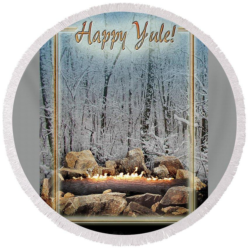Yule Round Beach Towel featuring the digital art Burning Yule Log by Melissa A Benson