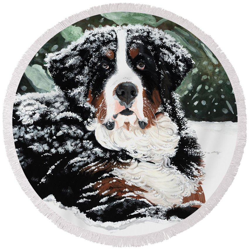 Bernese Mountain Dog Round Beach Towel featuring the painting Burrr by Liane Weyers