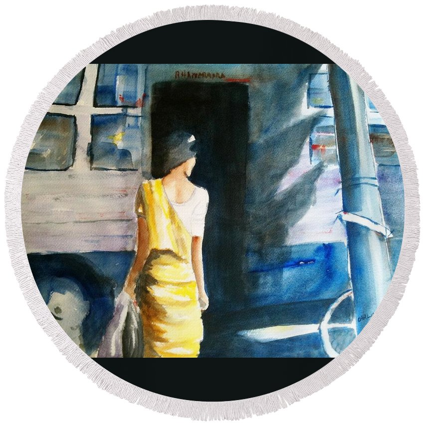 Woman Round Beach Towel featuring the painting Bus Stop - Woman Boarding The Bus by Carlin Blahnik CarlinArtWatercolor