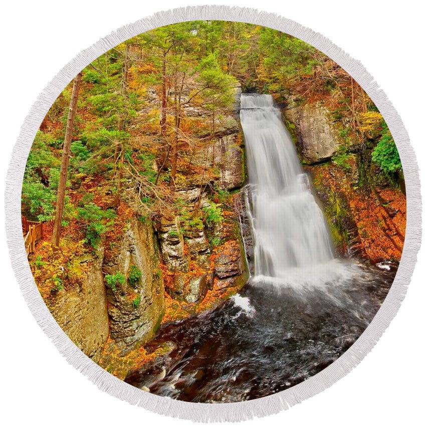 Autumn Round Beach Towel featuring the photograph Bushkill Falls Pa by Nick Zelinsky