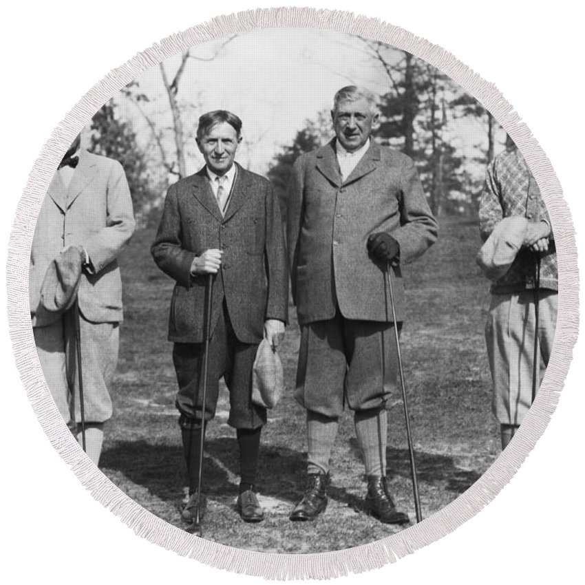 1920s Round Beach Towel featuring the photograph Business Leaders Play Golf by Underwood Archives