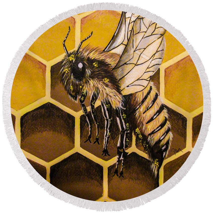 Honey Comb. Bee. Nature. Insect. Symbol. Fine Art. Design. Round Beach Towel featuring the painting Busy As A Bee by Dawn Siegler