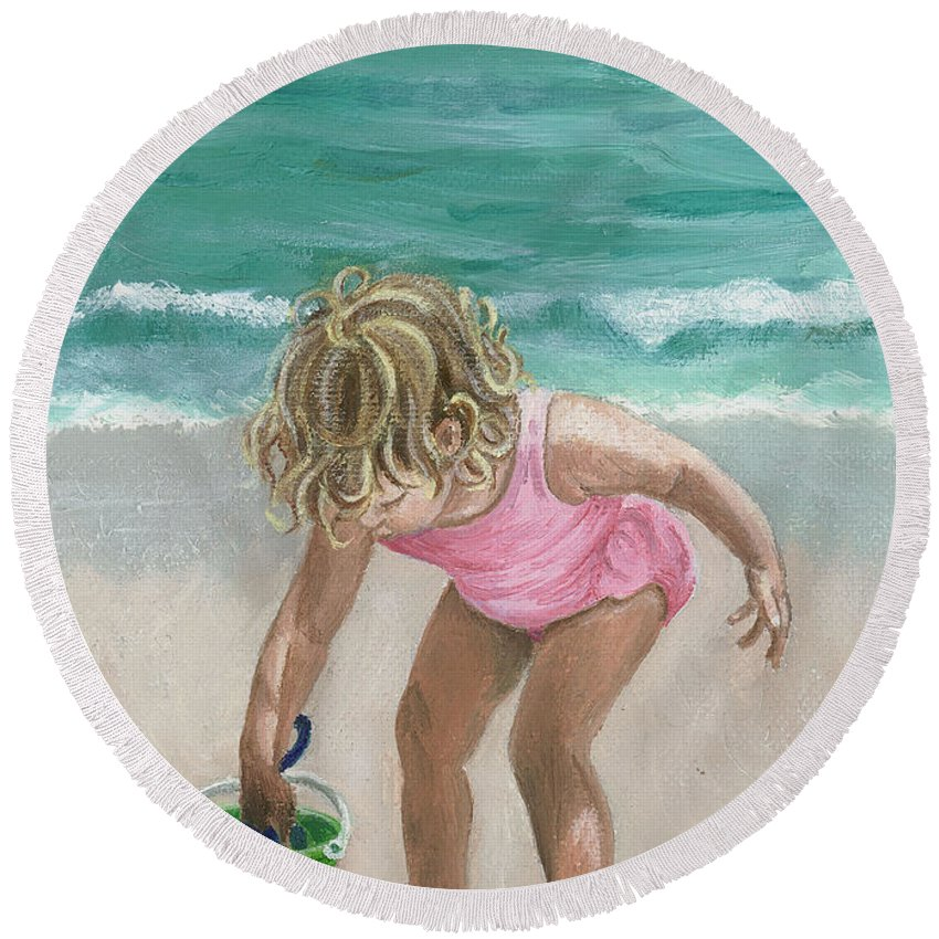 Ocean Round Beach Towel featuring the painting Busy Beach Girl by Jill Ciccone Pike