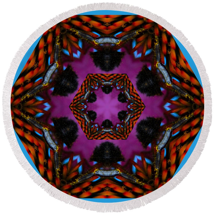 Busy Bee Round Beach Towel featuring the photograph Busy Bee Kaleidoscope by Judy Wolinsky