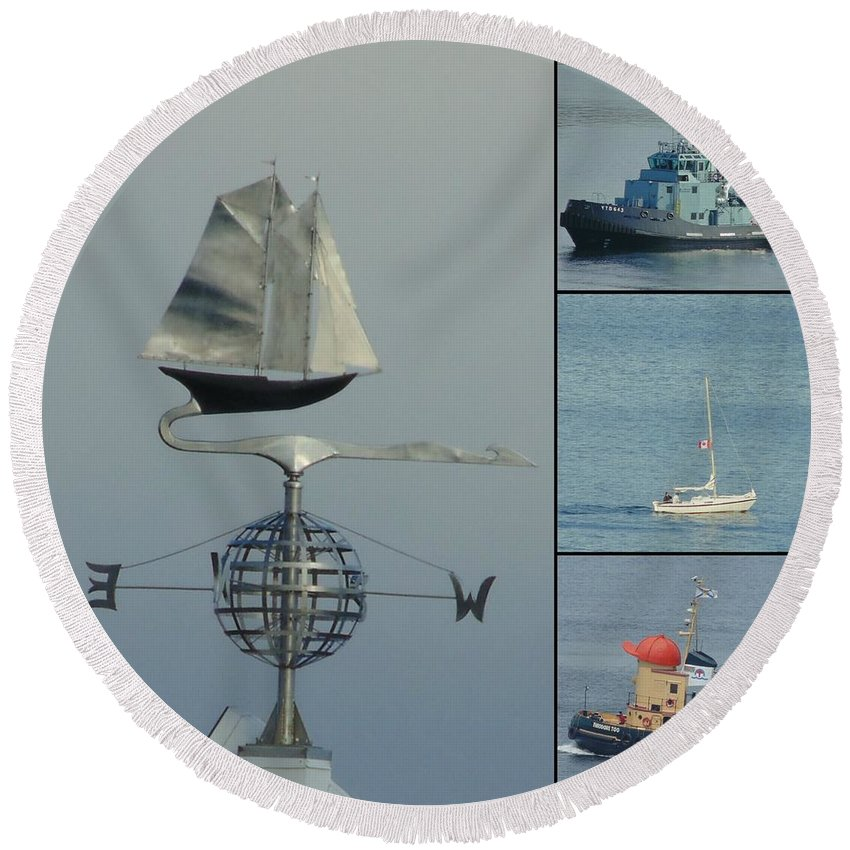 Busy Halifax Harbor Round Beach Towel featuring the photograph Busy Halifax Harbor by John Malone