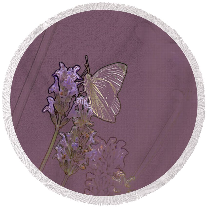 Butterfly Round Beach Towel featuring the digital art Butterfly 2 by Carol Lynch
