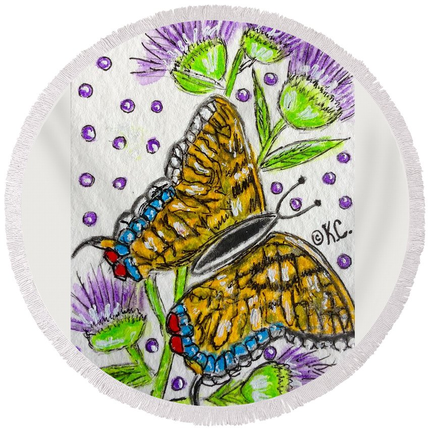 Butterfly Round Beach Towel featuring the painting Butterfly And Thistles by Kathy Marrs Chandler