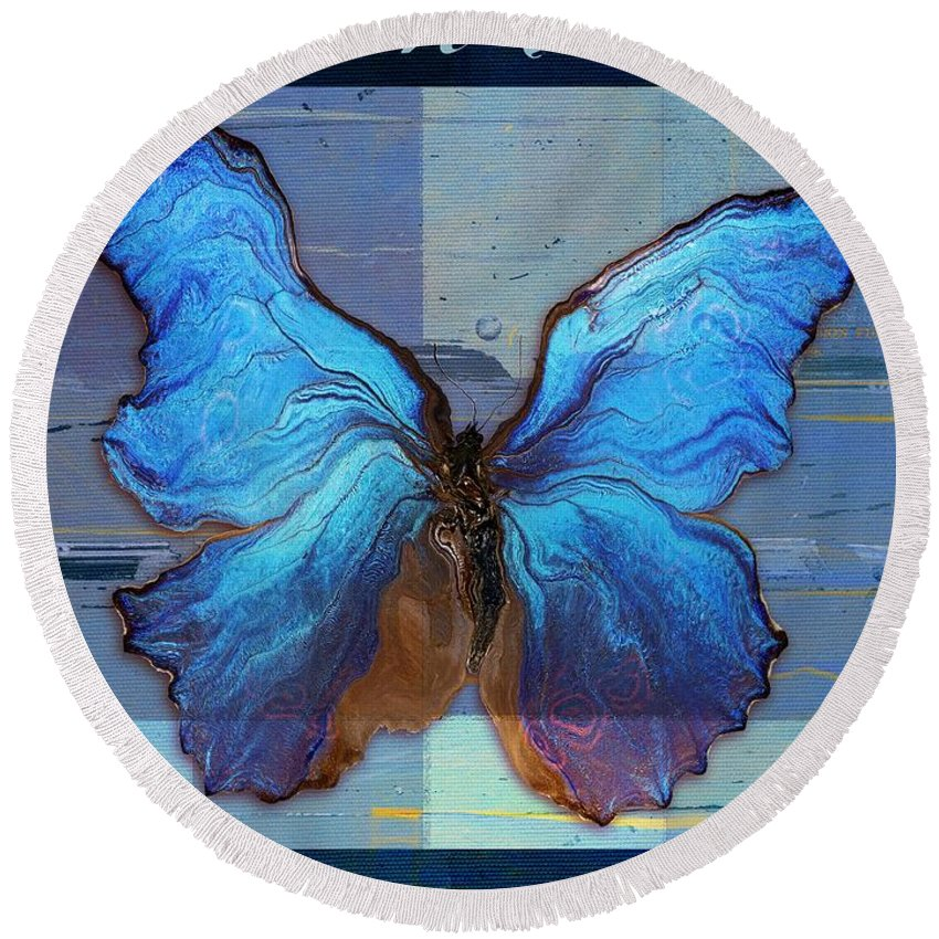 Butterfly Round Beach Towel featuring the digital art Butterfly Art - Dream It Do It - 99at3a by Variance Collections