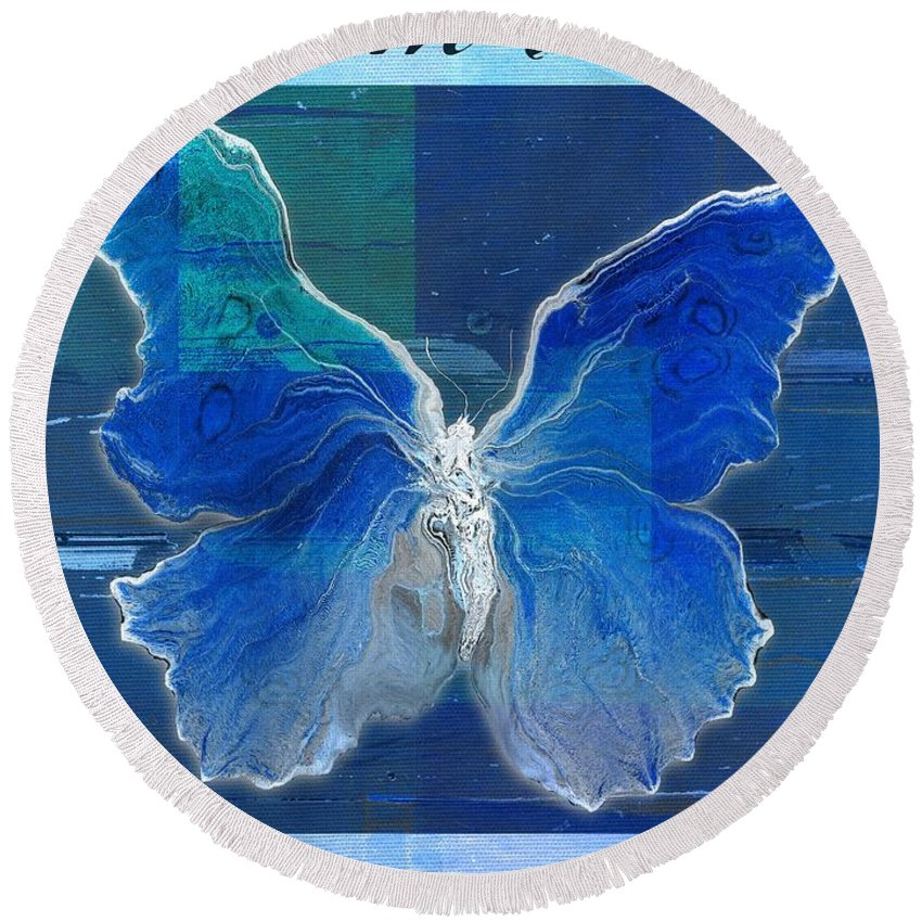 Butterfly Round Beach Towel featuring the digital art Butterfly Art - Dream It Do It - 99t02 by Variance Collections