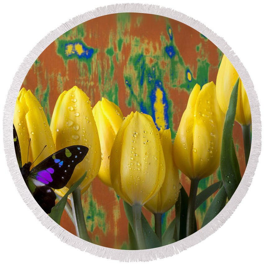 Black Purple Round Beach Towel featuring the photograph Butterfly Dreams by Garry Gay
