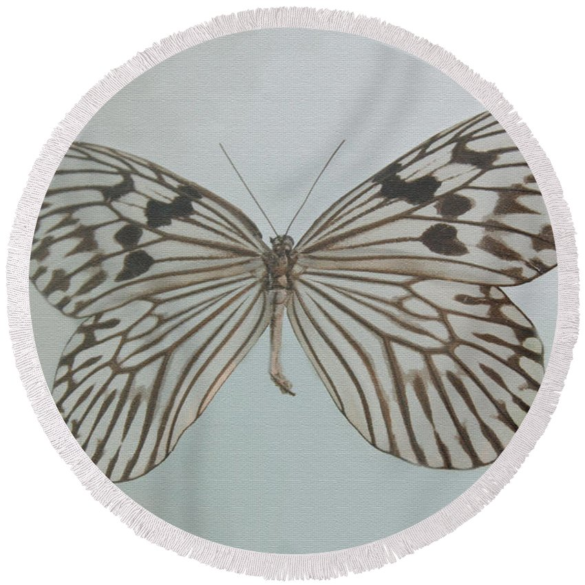 Butterfly Round Beach Towel featuring the digital art Butterfly by Gina Dsgn