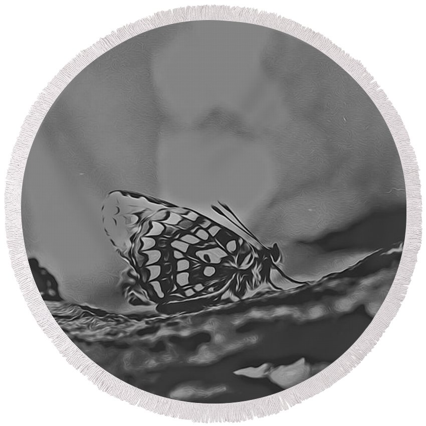 Round Beach Towel featuring the digital art Butterfly In Black And White by Cathy Anderson