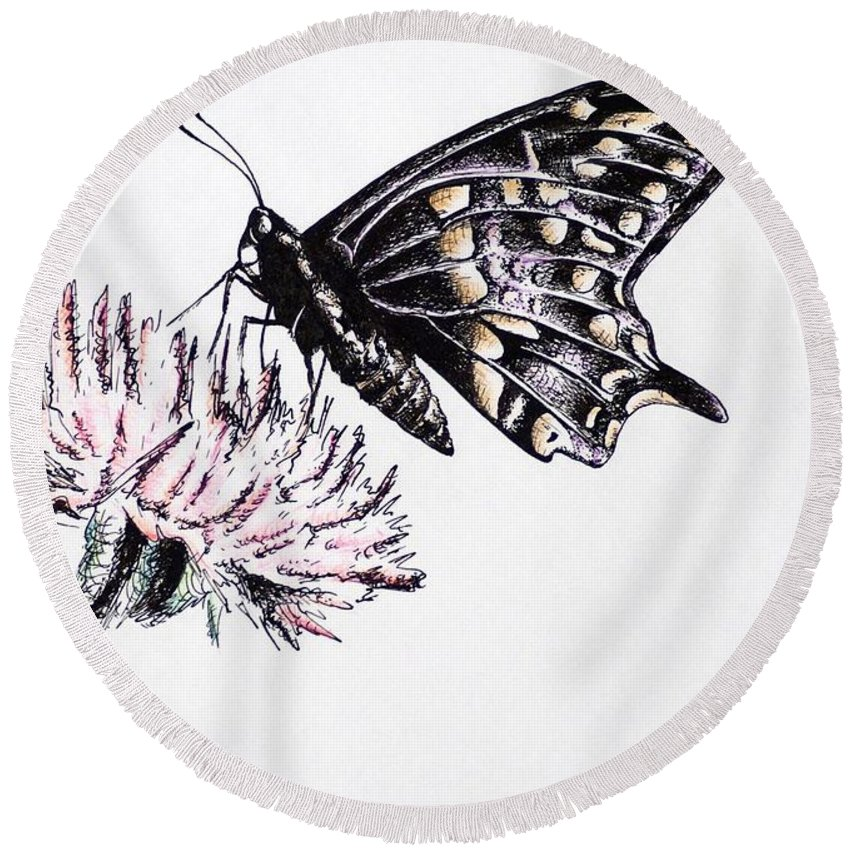 Butterfly Round Beach Towel featuring the drawing Butterfly by Katharina Filus