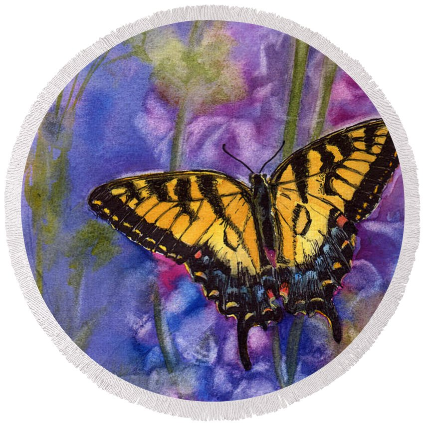 Butterfly Round Beach Towel featuring the painting Butterfly by Katherine Berlin
