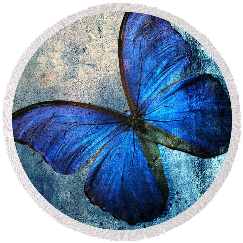 Butterfly Round Beach Towel featuring the photograph Butterfly by Mark Ashkenazi