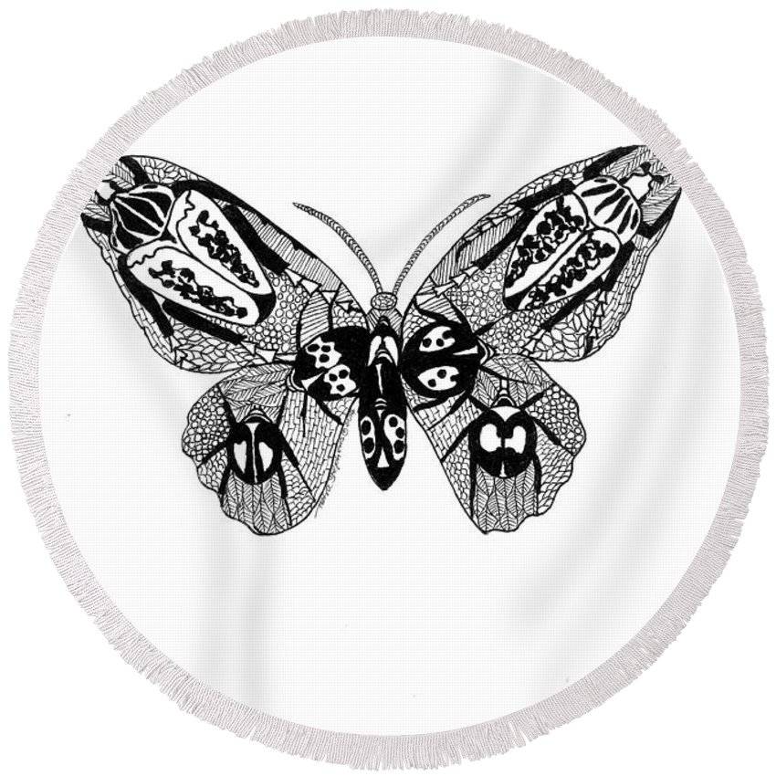 Nature Round Beach Towel featuring the drawing Butterfly With Design by Petra Stephens