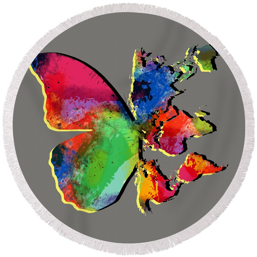 Butterfly World Map 2 Round Beach Towel For Sale By Mark Ashkenazi