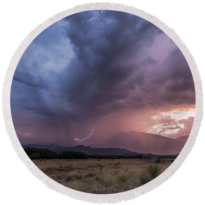Bishop Round Beach Towel featuring the photograph Buttermilks Lightning Strike by Cat Connor