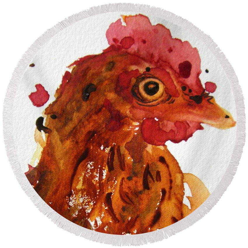 Rooster Round Beach Towel featuring the painting Buzz by Dawn Derman