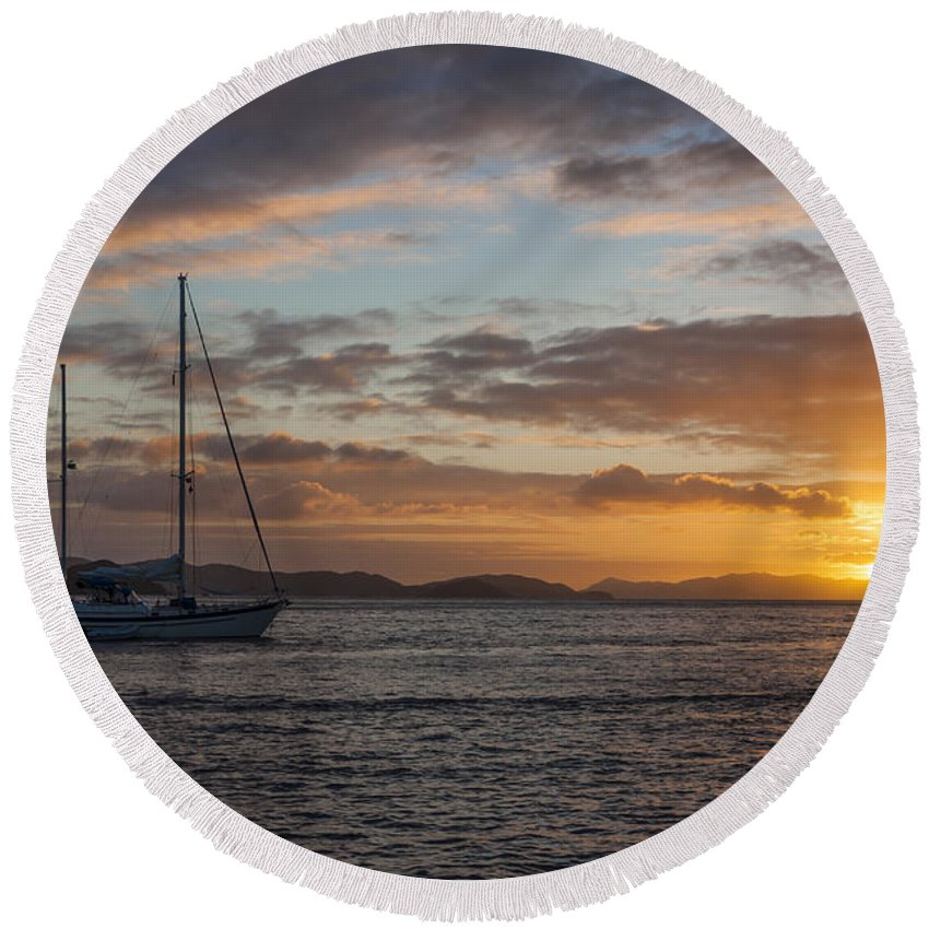 3scape Round Beach Towel featuring the photograph Bvi Sunset by Adam Romanowicz