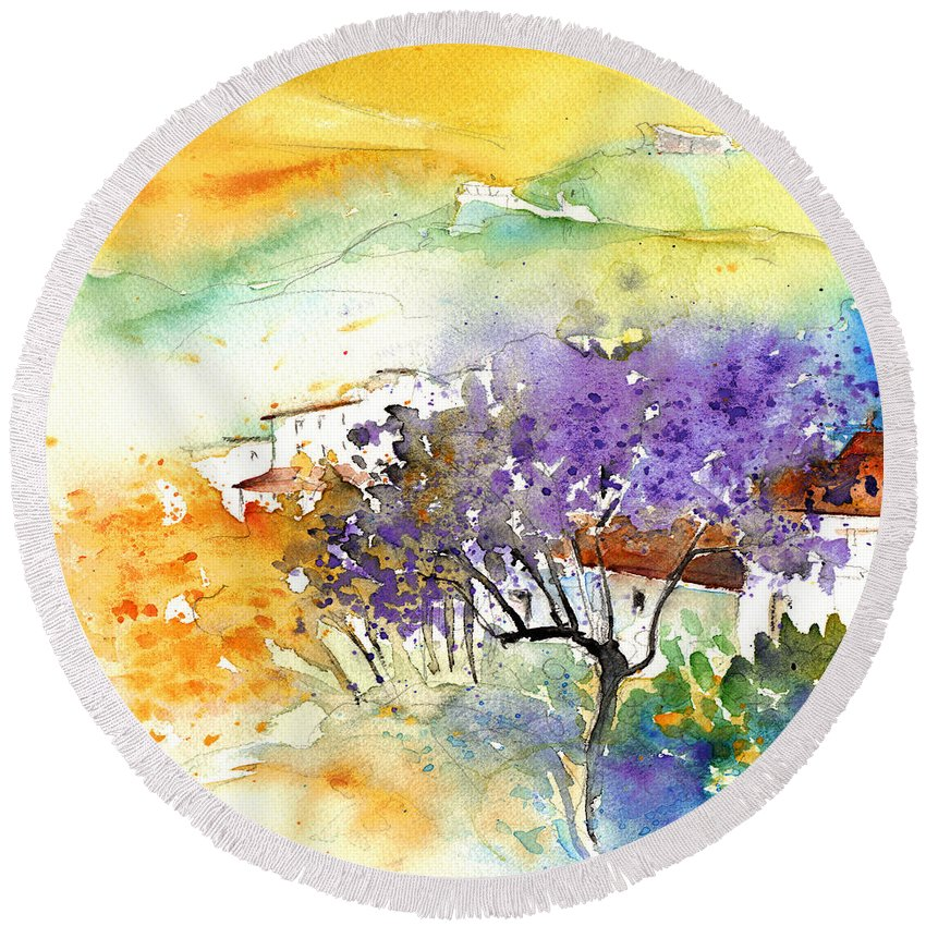 Watercolour Round Beach Towel featuring the painting By Teruel Spain 01 by Miki De Goodaboom