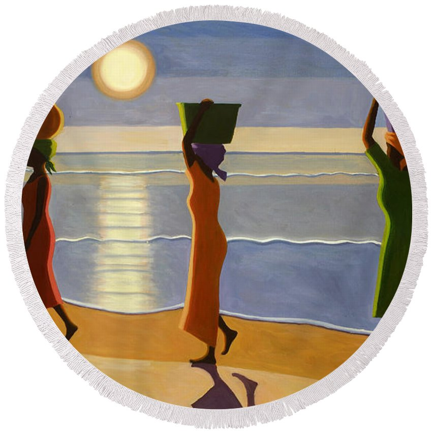 3 Round Beach Towel featuring the painting By The Beach by Tilly Willis