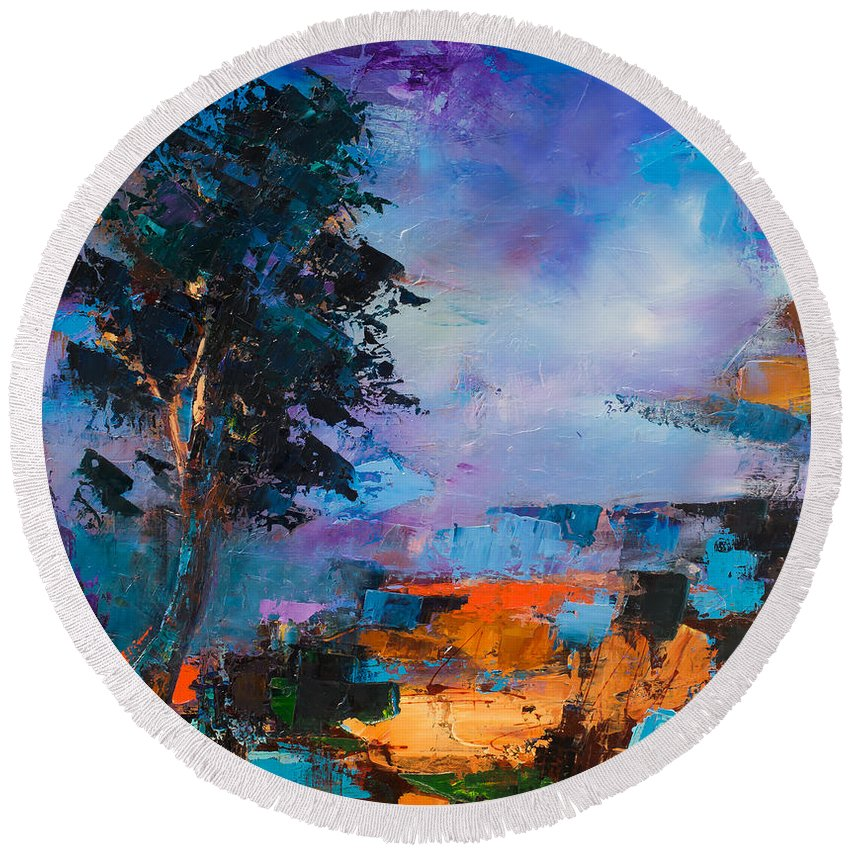 Elise Palmigiani Round Beach Towel featuring the painting By The Canyon by Elise Palmigiani