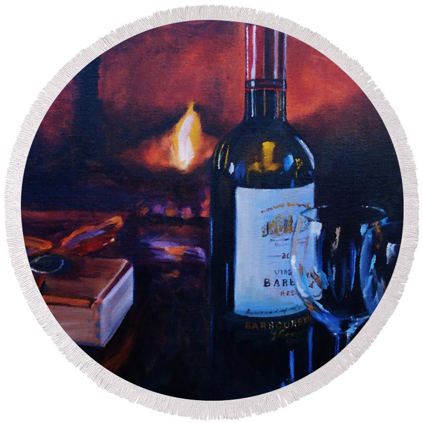 Wine Round Beach Towel featuring the painting By The Fire by Donna Tuten