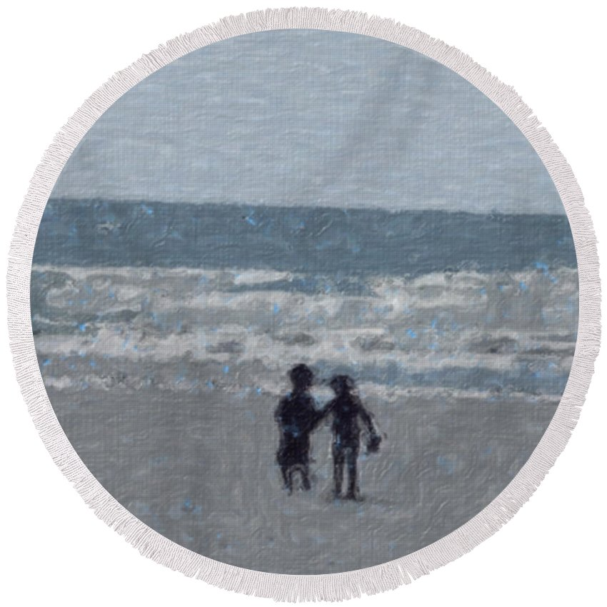 Fun Round Beach Towel featuring the painting By The Ocean by Sergey Bezhinets