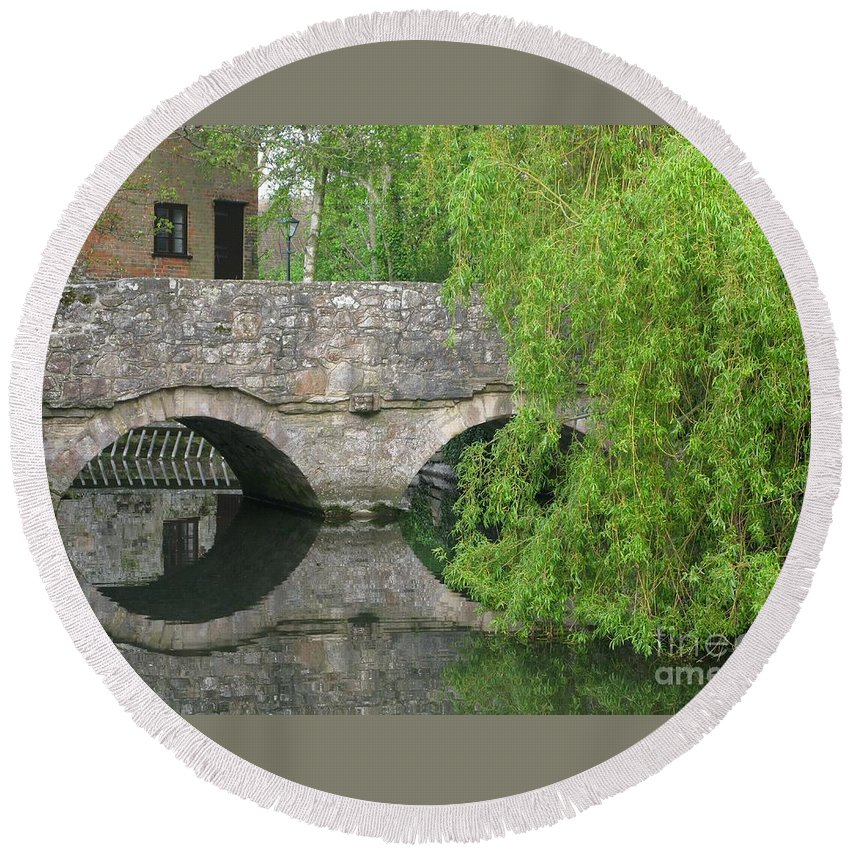 England Round Beach Towel featuring the photograph By The Old Mill Stream by Ann Horn