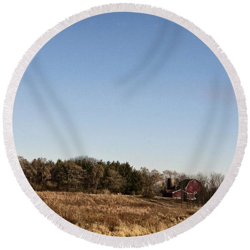 Old; Farm; Barn; Rural; Red; Fall; Landscape; Outside; Outdoors; Country; Countryside; Pond; Water; Sky; Weeds Round Beach Towel featuring the photograph By The Pond by Margie Hurwich