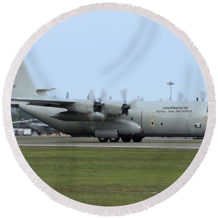 Horizontal Round Beach Towel featuring the photograph C-130j Super Hercules Of The Royal Thai by Remo Guidi