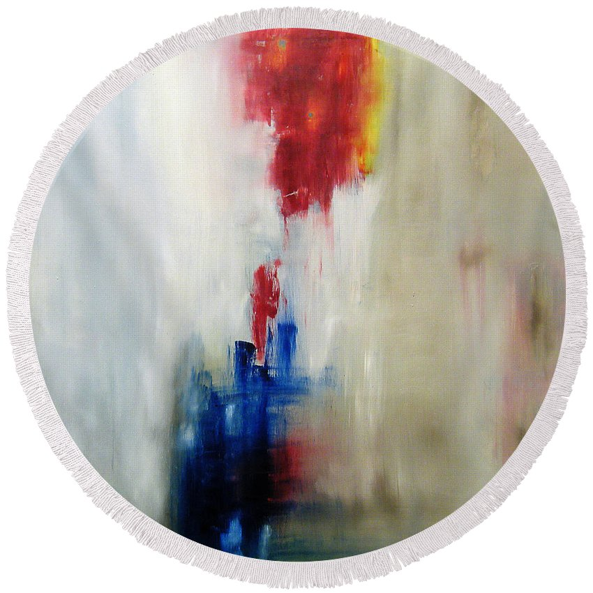 Abstract Painting Round Beach Towel featuring the painting C-15 by Jeff Barrett