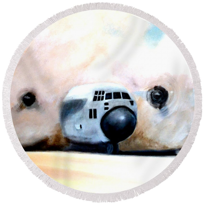 C130 Round Beach Towel featuring the painting C130 Landing In A Sandstorm Air Force Military by Katy Hawk