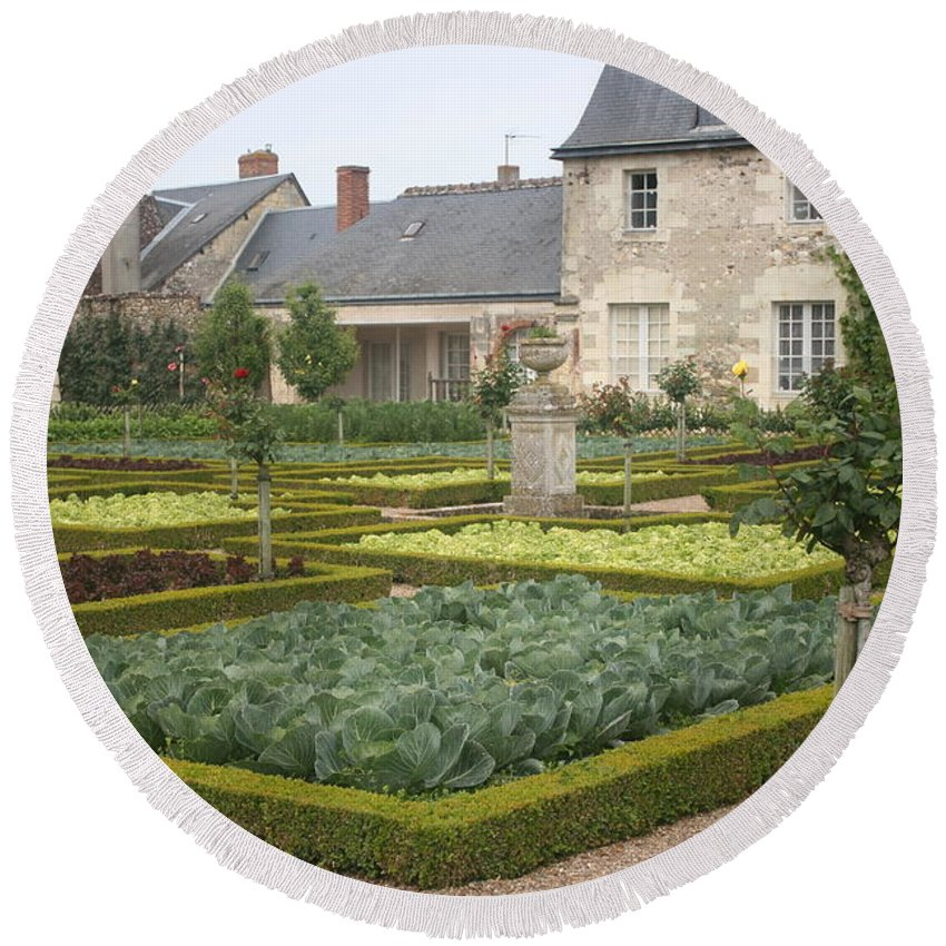 Cabbage Round Beach Towel featuring the photograph Cabbage Garden Chateau Villandry by Christiane Schulze Art And Photography