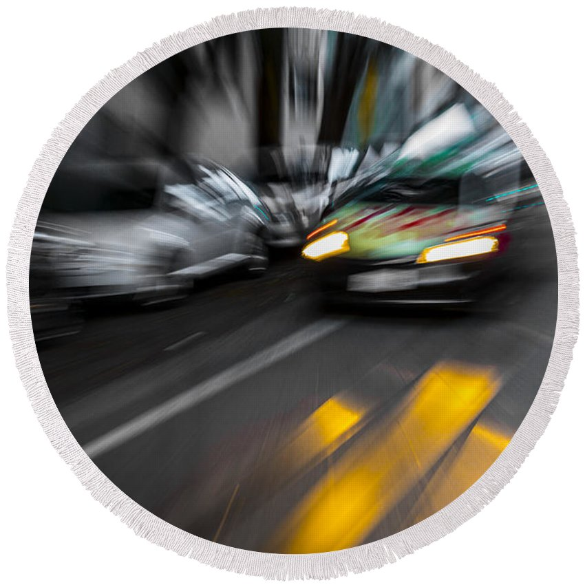 Taxi Round Beach Towel featuring the photograph Cabbie Too Fast by Scott Campbell