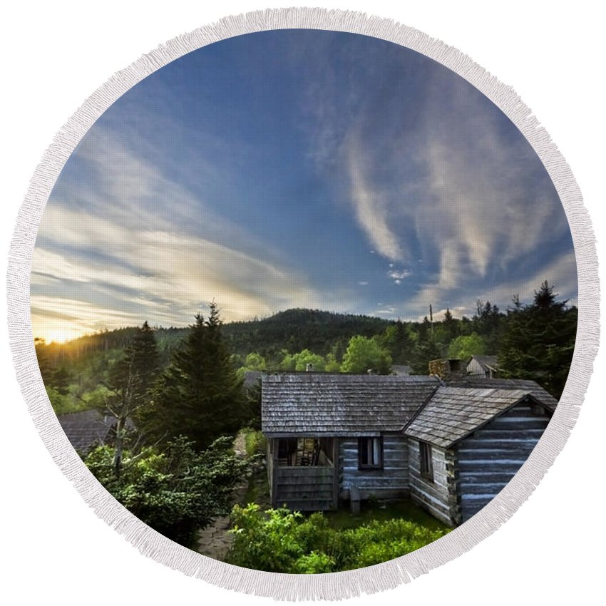 Appalachia Round Beach Towel featuring the photograph Cabins At Dawn by Debra and Dave Vanderlaan
