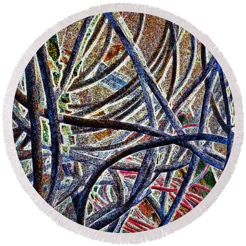 Cable Round Beach Towel featuring the photograph Cable Jungle by Gwyn Newcombe