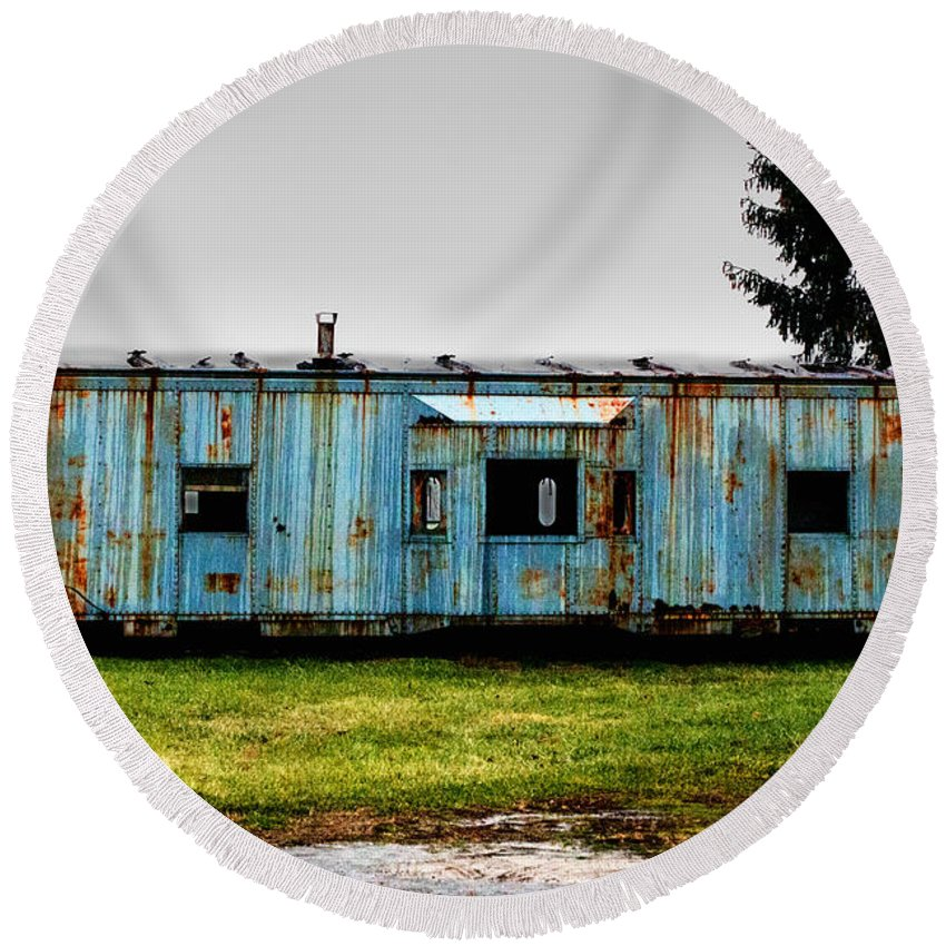 Caboose Round Beach Towel featuring the photograph Caboose On A Farm by Bill Swartwout Fine Art Photography