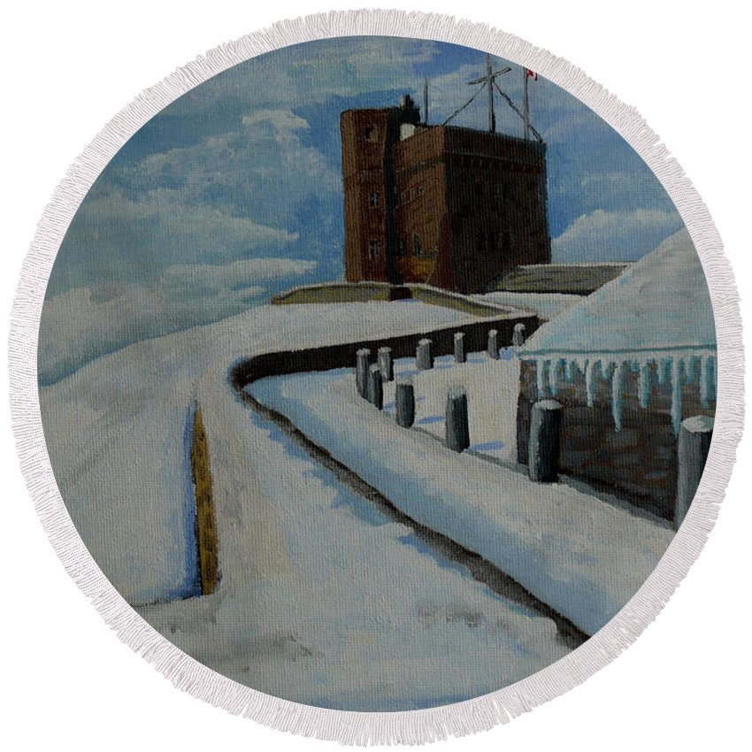 Landscape Round Beach Towel featuring the painting Cabot Tower Newfoundland by Anthony Dunphy
