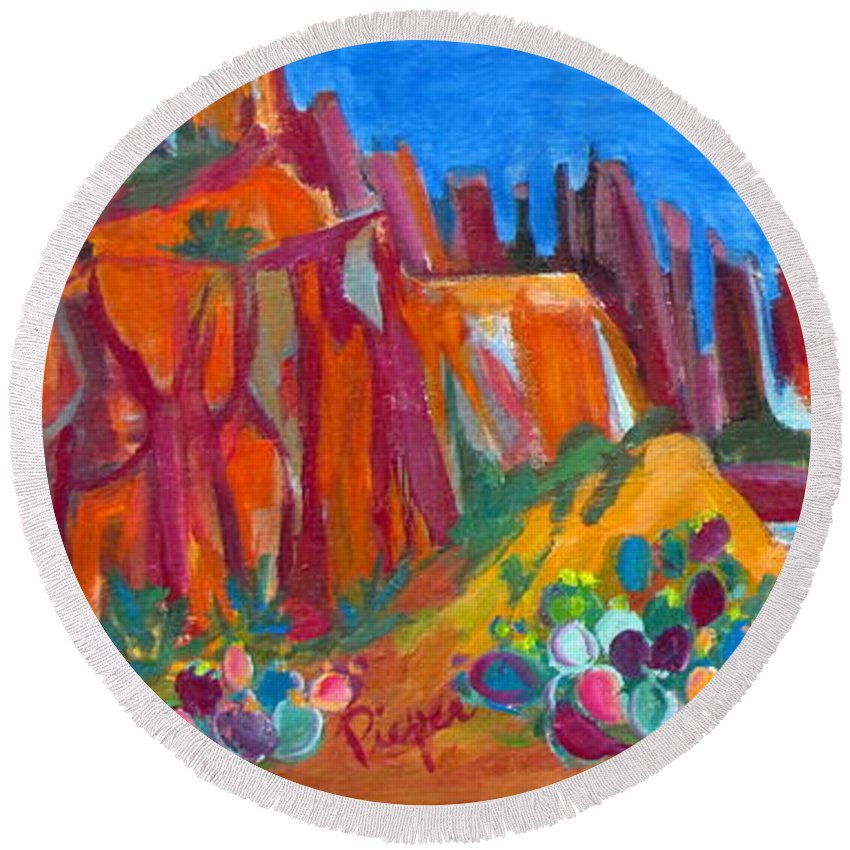Southwest Scene Round Beach Towel featuring the painting Cacti With Red Rocks And Rr Trestle by Betty Pieper