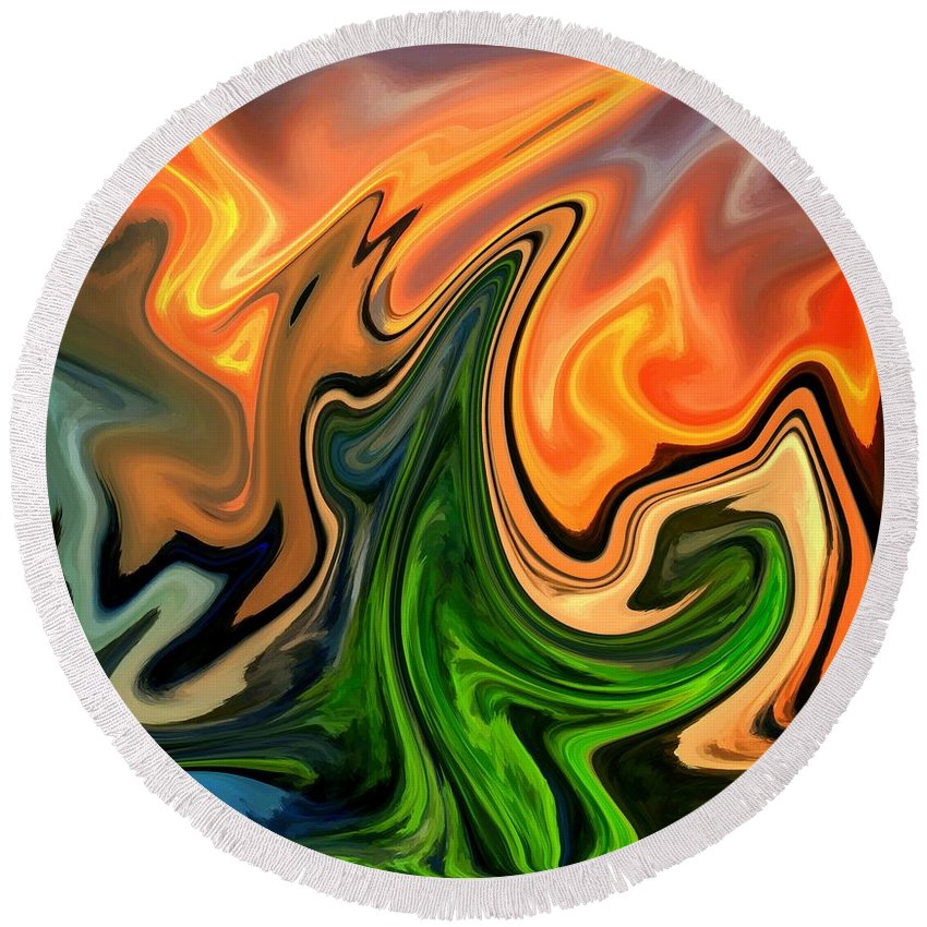 Abstract Round Beach Towel featuring the digital art Cactus by Chris Butler