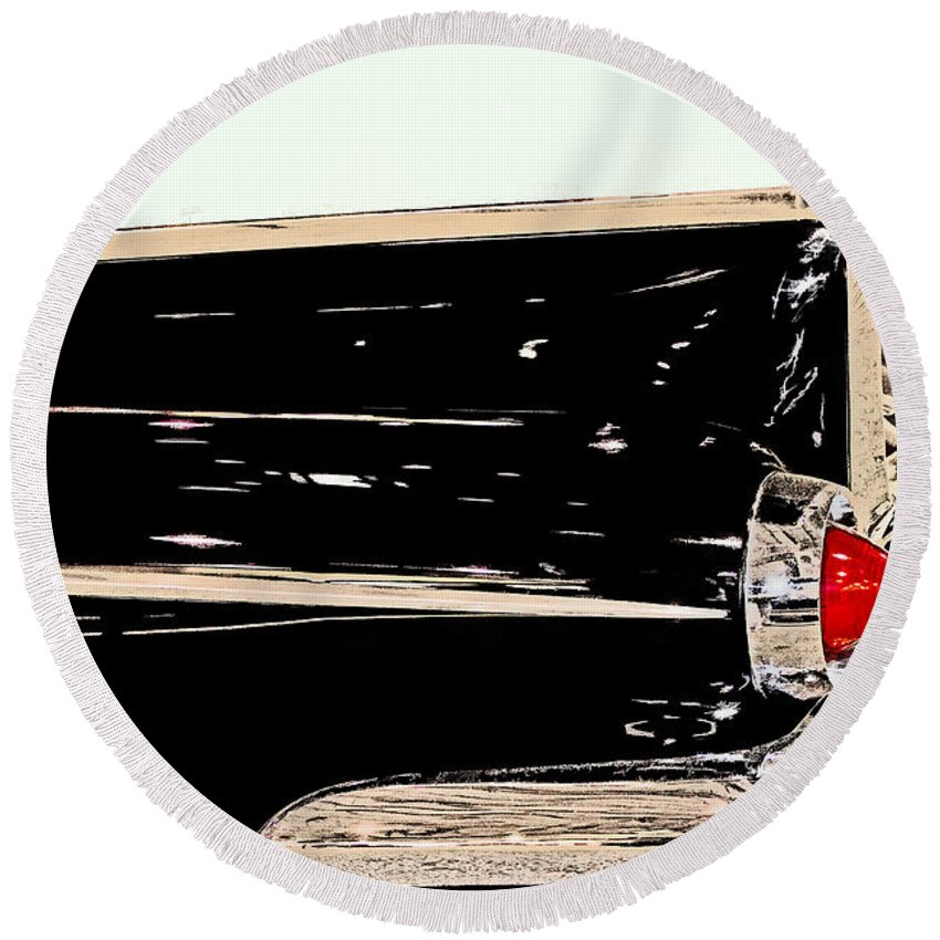 Collectible Round Beach Towel featuring the photograph 1959 Buick Electra 225 Fins by Tom Gari Gallery-Three-Photography
