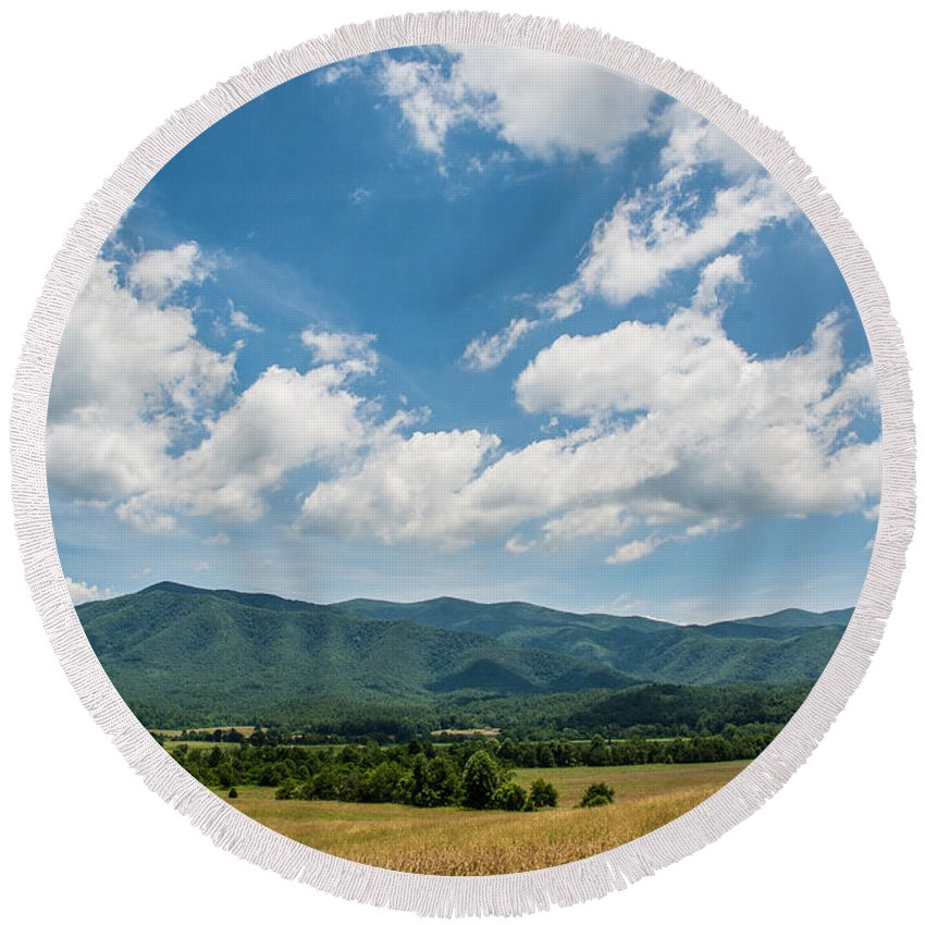 Summer Landscape Round Beach Towel featuring the photograph Cades Cove by Cheryl Baxter